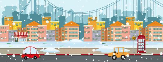 Scena di sfondo con neve in città