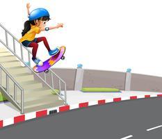 Ragazza che gioca a skateboard sulla strada vettore