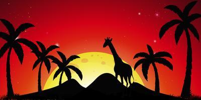 Scena della siluetta con alberi di cocco e giraffa vettore
