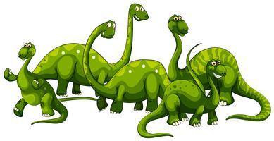 Famiglia di Brachiosaurus su sfondo bianco