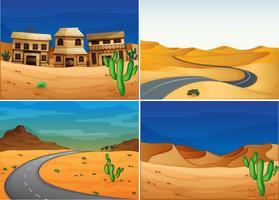 Quattro scene con strada nella terra del deserto vettore