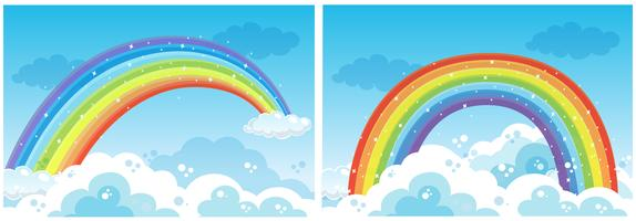 Un set di arcobaleno sul cielo vettore