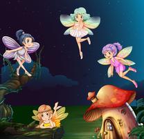 Fata a casa dei funghi di notte vettore