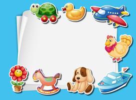 Design del telaio con molti giocattoli sfondo vettore