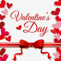 Modello di carta di San Valentino con cuori e nastro