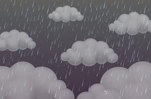 Sfondo con pioggia nel cielo scuro vettore