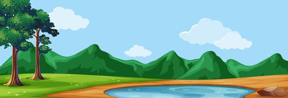 Scena di sfondo con alberi e laghetto