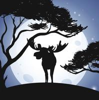 Silhouette cervi e scena della foresta vettore
