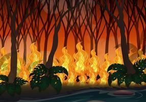 Disastro Wildfire nella grande foresta vettore