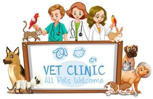Insegna della clinica del veterinario su fondo bianco