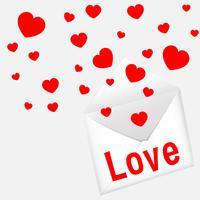 Modello di carta per San Valentino con cuori e lettera