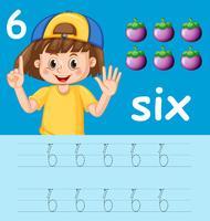 Numero sei fogli di lavoro di alfabeto di tracciamento