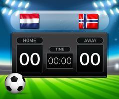 Tabellone segnapunti di calcio Olanda vs Norvegia vettore