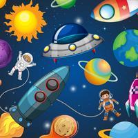 L'astronauta viaggia nello spazio vettore