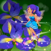 Fata che vola intorno al giardino fiorito