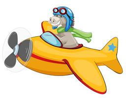 Aeroplano di equitazione su backgroud bianco vettore