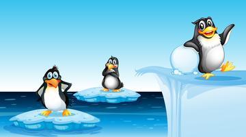 Pinguino nel paesaggio artico vettore