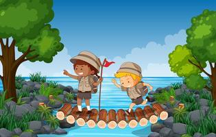 Escursioni per bambini su un ponte sull'acqua vettore