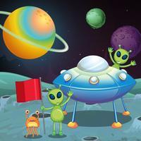 Tema spaziale con alieni e UFO vettore
