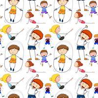 Sfondo senza soluzione di continuità con i bambini facendo esercizio