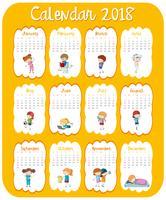 Modello di calendario per il 2018 con i bambini vettore