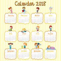Modello di calendario 2018 con molti bambini per ogni mese vettore