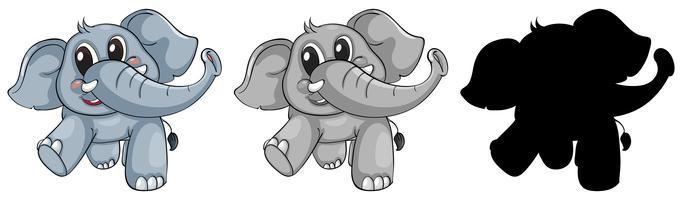Set di elefanti felici vettore