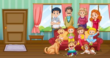 Famiglia divertendosi in salotto vettore