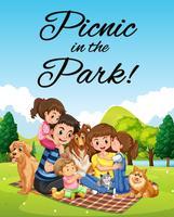 Design di poster con picnic in famiglia nel parco vettore