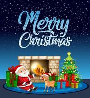 Merry chritsmas santa e renne card