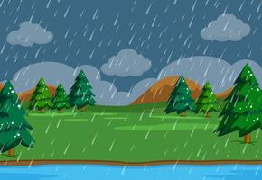 Un simplesso che piove scena in natura vettore