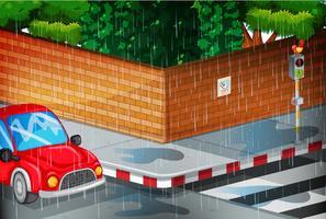 Scena con strada sotto la pioggia