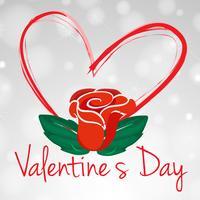 Modello di carta di San Valentino con rosa rossa