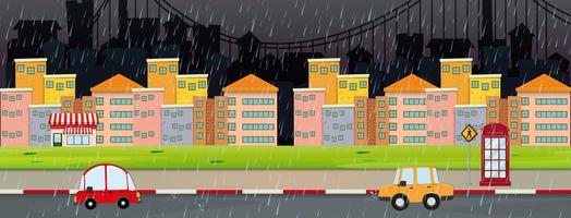 Scena della città di notte in giornata piovosa vettore