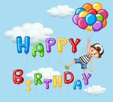 Scheda di buon compleanno con ragazzo e palloncini