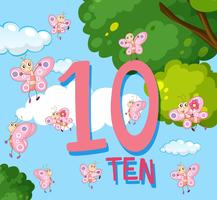 Contando fino al numero 10 con le farfalle vettore
