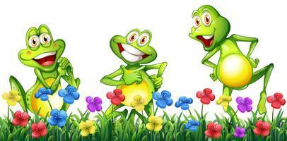 Tre rane felici in giardino fiorito vettore