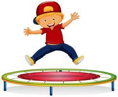 Ragazzo felice che salta sul trampolino vettore