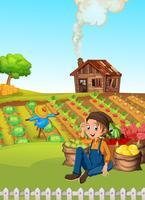 Un contadino raccoglie verdura vettore
