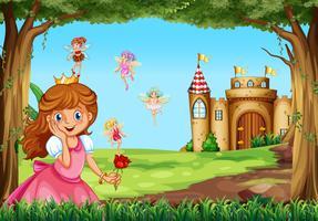 Principessa carina e fate in giardino vettore