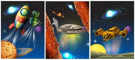 Tre scene con astronave e robot nello spazio vettore