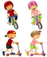 ragazzi urbani in sella a biciclette e scooter a pedali vettore