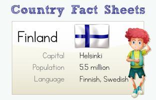 Scheda informativa del paese Finlandia con ragazzo e bandiera