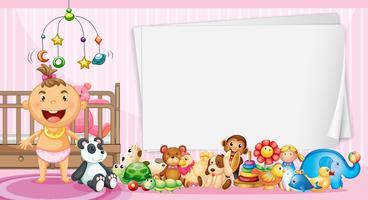 Modello di confine con bambino e giocattoli