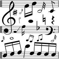 Note musicali su scale lineari vettore