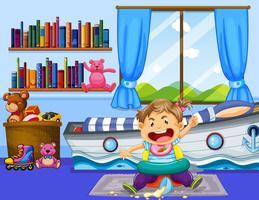 Bambina che fa casino nella camera da letto