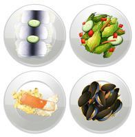 Un menu set sano su sfondo bianco