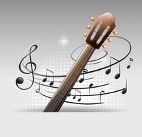 Disegno di sfondo con chitarra e note musicali vettore