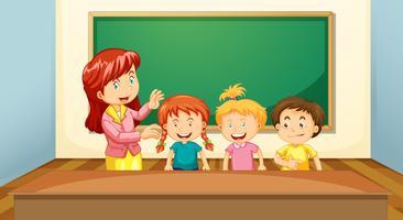 Insegnante e studenti in classe vettore