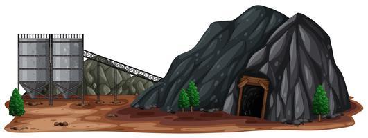 Una miniera di pietra su sfondo bianco vettore